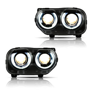 VLAND Headlights Fit For Dodge Challenger SE R/T 2015-2020 LED DRL Assembly