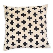 Black Swiss Cross Scandinavian Cotton Linen Sofa Decor Pillow case Cushion Cover
