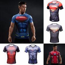 Maglia uomo maglietta fumetti sport fitness t-shirt  bodybuilding men superman