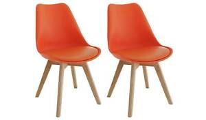 Jerry Pair of Fabric Dining Chair - Orange