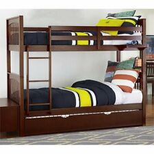 Ne Kids Pulse Twin Over Twin Slat Bunk Bed with Trundle in Cherry