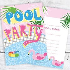 Pool Party Invites Pink Tropical Style - Ready to Write with Envelopes (Pack 10)