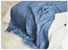 LINEN BED THROW,  BLANKET, BEDDING LINENS. HOME DECOR (41 x79 IN) LINEN 100% ECO