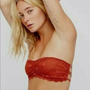 Intimately Free People Bandeau Bra Rust Red XS Extra Small Lace w/ Strappy Back