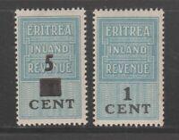 UK Eritrea Italy Fiscal Revenue stamp 1-3-21 mnh