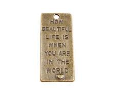 10PCS Antiqued Bronze Word Retangle Charms Pendants #91323