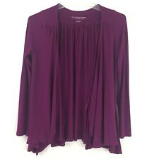 Soft Surrounding Open Front Cardigan Purple Womens Size Small Pleated Godets