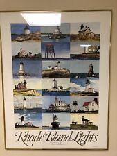 Rhode Island Lighthouses Framed Print Signed Vintage 1985