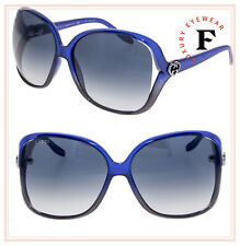 9a07c09728999 Gucci 3500 Blue Grey Translucent Oversized Heart Logo Sunglasses Gg0506