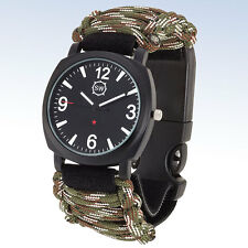 Sharp SURVIVAL WATCH® Emergency Tool WATCH w CAMO Paracord Compass Fire Starter