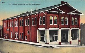 Postcard Elk's Club Building in Victor, Colorado~115487
