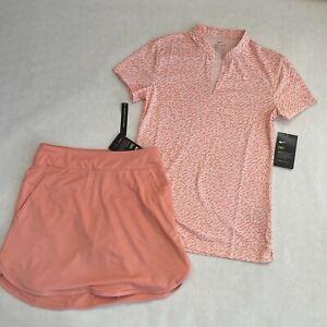 NWT Women's NIKE Peach Coral Golf Polo Top & Nike Golf Skort 2pc Set Outfit XS
