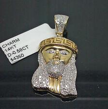 14K Yellow Gold Men's Jesus Head Charm 0.58CT Diamond, Angel, Cross