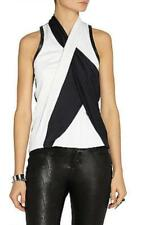 NWT Helmut Lang Pearl Black Twisted Drape Leather Trim Crepe Top P XS