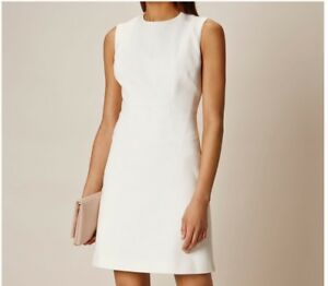Karen Millen Textured Fitted Dress -White Colour (Size 14) (Brand New With Tags)