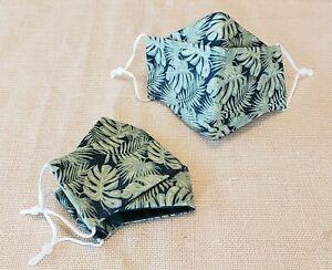 Antimicrobial Face Mask Hawaiian Print Organic Adjustable Cotton Woodland Green