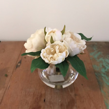 Artificial Fake Silk Flower Cream Peony w Artificial Water Clear Glass 17cm H