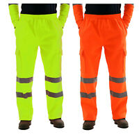 Hi Viz Vis Mens Trousers High Visibility Reflective Safety Casual Work Pants