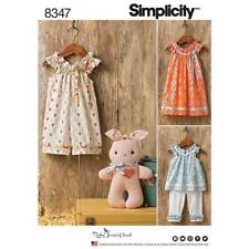 Simplicity Sewing Pattern 8347 Toddlers Dress Top Capris Romper Bunny Size 1/2-4