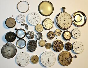 LOT of ANTIQUE/ VINTAGE POCKET WATCH PARTS~MOVEMENTS~FACES~CRYSTALS~AS-IS~L #14!