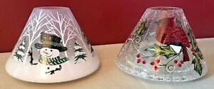 Yankee Crackled Glass Candle Shades Christmas Snowman & Cardinals Lot Of 2