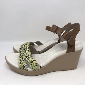 Crocs Women's Leigh II Ankle Strap Graphic Hazelnut/Gold Wedge Sandals-Sz 8