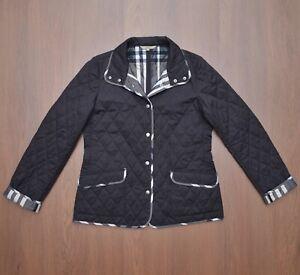 Burberry London Womens Black Quilted Jacket Coat Nova Check sz M
