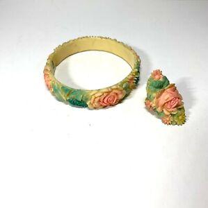 Vintage Carved Floral Celluloid Bangle Bracelet and Ring Japan Mid Century