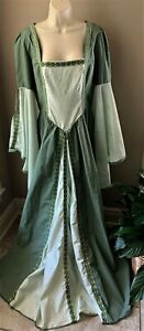 Custom Made RENAISSANCE GOWN Costume DRESS Medieval LACE-UP BACK Greens DETAIL