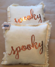 "Nwt (2) Mud Pie Halloween ""Spooky"" Cream 12"" X 12"" Pillows with orange sequins"