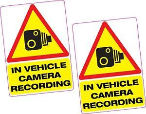 2 x In Vehicle Camera Recording Vinyl Sticker 100x70mm Car Van Taxi Vehicle