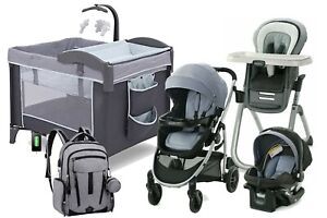 Baby Stroller Travel System with Car Seat Playard High Chair Bag Combo New