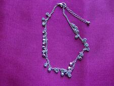 Bracelet Dainty Silver Tone Hanging Diamante Stones, UK seller