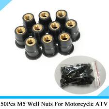 50Pcs Motorcycle Windscreen M5x0.8mm Rubber Nut Fastener For BMW Suzuki Yamaha