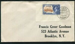 1935 Silver Jubilee Nyasaland 3d on a correct rate cover to USA FD cancel