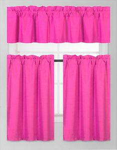 3PC SET WINDOW DRESSING KITCHEN CURTAIN SOLID LINED BLACKOUT DRAPE TREATMENT K3