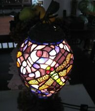 SUPERB VINTAGE ART NOUVEAU STYLE DRAGON FLIES STAIN GLASS ELECTRIC LAMP