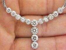 "Natural Round Cut Diamond Bezel Set 14-Stone Necklace White Gold 4.20CT 17.5"""