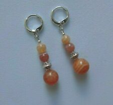 Beautiful BOTSWANA AGATE gemstone drop EAR RINGS  Sterling Silver Gift wrapped
