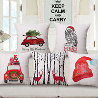 Christmas Xmas Linen Cushion Cover Throw Pillow Case Home Decor Festive Gift SL