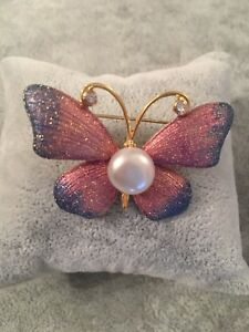 Pink Purple Butterfly Freshwater Pearl Brooch Jewelery Gift