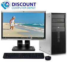 "HP DC Desktop Computer PC Tower Intel Dual Core 8GB 500GB DVD-RW WiFi 19"" LCD"