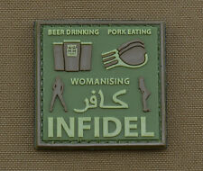 """PVC / Rubber Patch """"Beer, Pork, Womanising....Infidel"""" with VELCRO® brand hook"""