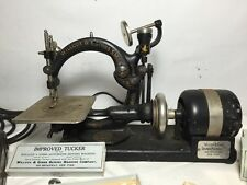 Antique Willcox Gibbs Electric Sewing Machine Cast Iron W/ Pedal & Accessories