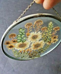 Vintage Metal Frame Beveled Glass Art Sun Catcher Dried Flowers Botanical