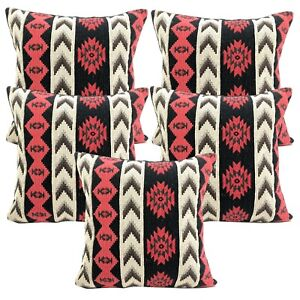Indian Living Room Sofa Cushion Covers 40 x 40 Dhurrie Weave Cotton Pillowcases