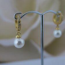 Ohrringe 925er Silber vergoldet aus Muschelkernperlen 8mm Weiß Rund TOP Geschenk