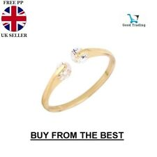 Gold Plated TWIN CUBIC ZIRCONIA RING Thumb/ Wrap Ring ADJUSTABLE Crystal Gift