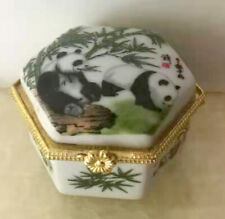 Porcelain Jewelry box painted animals pandas in landscape