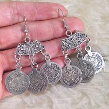 Pattern Charm Hook Earrings Vintage Womens Bohemian Hippies Antique-Silver-Tone